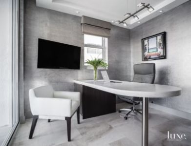 Warm Grey Office in Fort Lauderdale Condo   Luxe Interiors   Design Related Designs