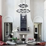 Contemporary White Living Room With Double Height Ceiling