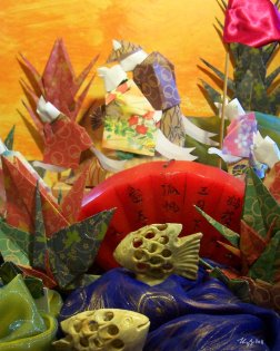paper mixed media tableau of two kitsune spirits in kimonos getting married