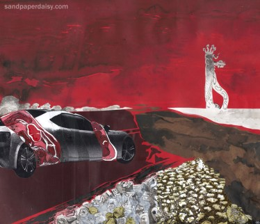 A dissected car with human internal organs shuffles towards the ultimate ending, a maya road totem beyond a precipice