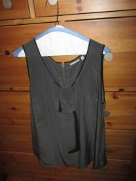 Halogen grey silk blouse