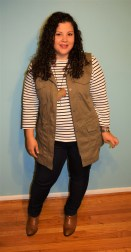 banana republic vest, lands end striped shirt, NYDJ leggings, franco sarto booties