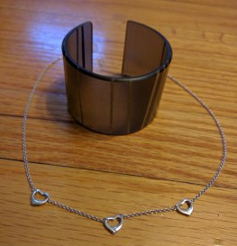 Color by Amber bangle \\ Tiffany & Co three hearts necklace