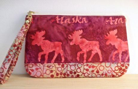 Alaska moose wristlet, pink