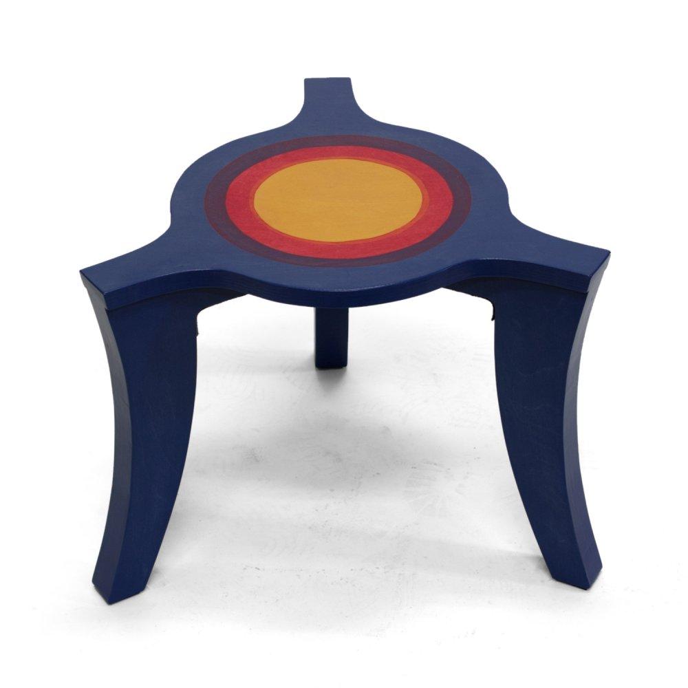 Driepoot salontafel blauw-rood-geel