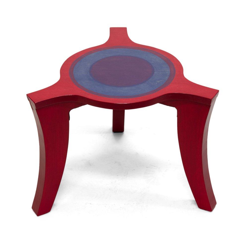 Driepoot salontafel rood-blauw-paars