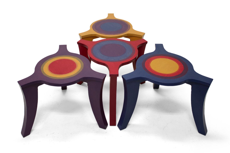 Driepoot salontafelset blauw-paars-geel-rood