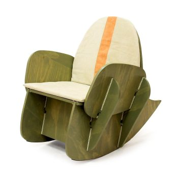 Groene  en blauwe schommelstoel