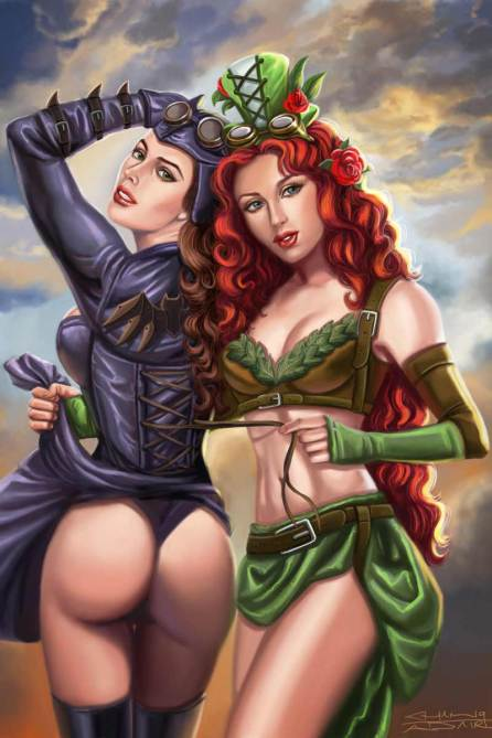 Sandra Chang-Adair's Steampunk Poison Ivy and Bat Girl