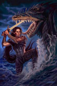 Death of a Sea Serpent by Sandra Chang-Adair features a handsome knight battling a Sea Dragon by a moonlit ocean.