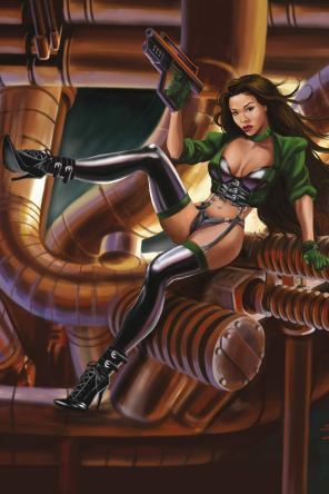 Sci-fi Girl pin up by Sandra Chang. Brandishing a futuristic pistol, this sexy, latex-clad heroine is based on Aiko Tanaka, an Asian model.