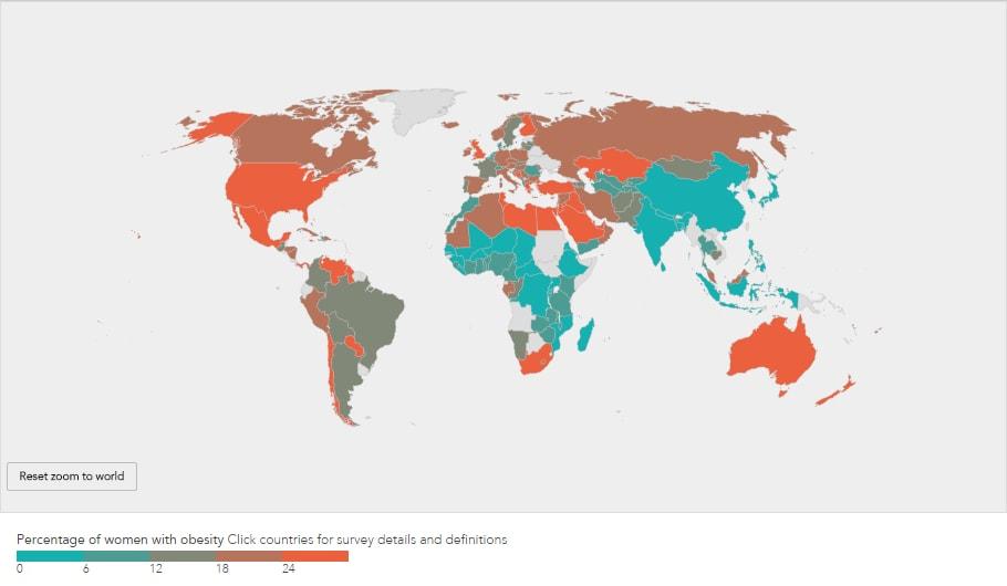 obésité dans le monde - données femmes