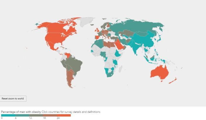 obésité dans le monde - données hommes