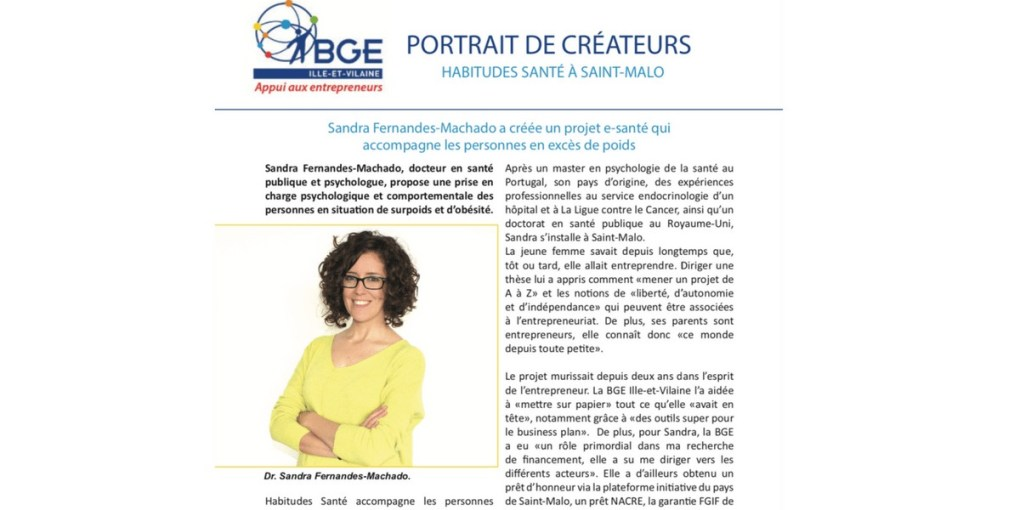 Sandra FM, BGE, Sandra Fernandes-Machado, e-sante, promotion de la santé, prévention, obésité, surpoids, psychologue, santé publique