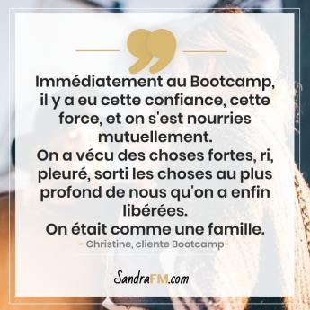 Bootcamp Avant Apres Temoignage Christine Libération Violence Psy Sandra FM famille force