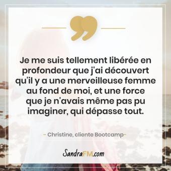 Bootcamp Avant Apres Temoignage Christine Libération Violence Psy Sandra FM femme merveilleuse