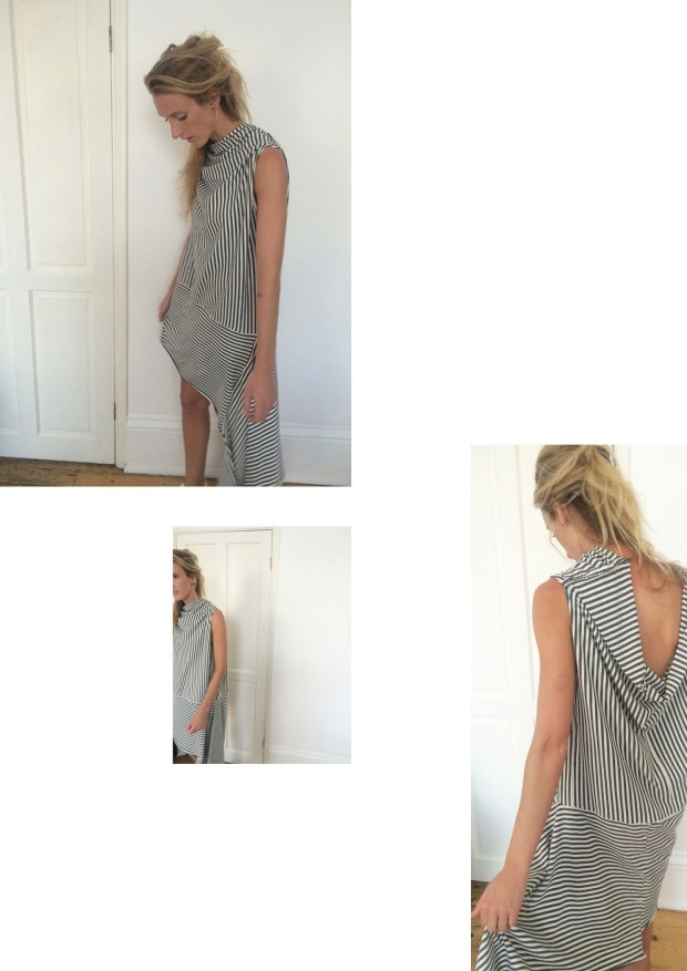 lilac striped grey dress by Sandra Anderson
