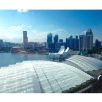 Aussicht vom Marina Bay Sands hotel