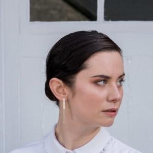 Linear Dot Double Link Earrings