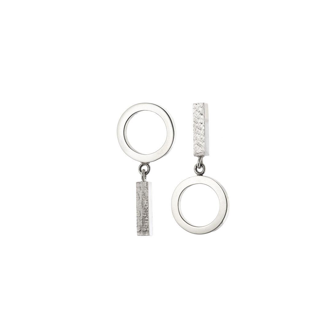 Metal & Lace Silver Opposite Earrings