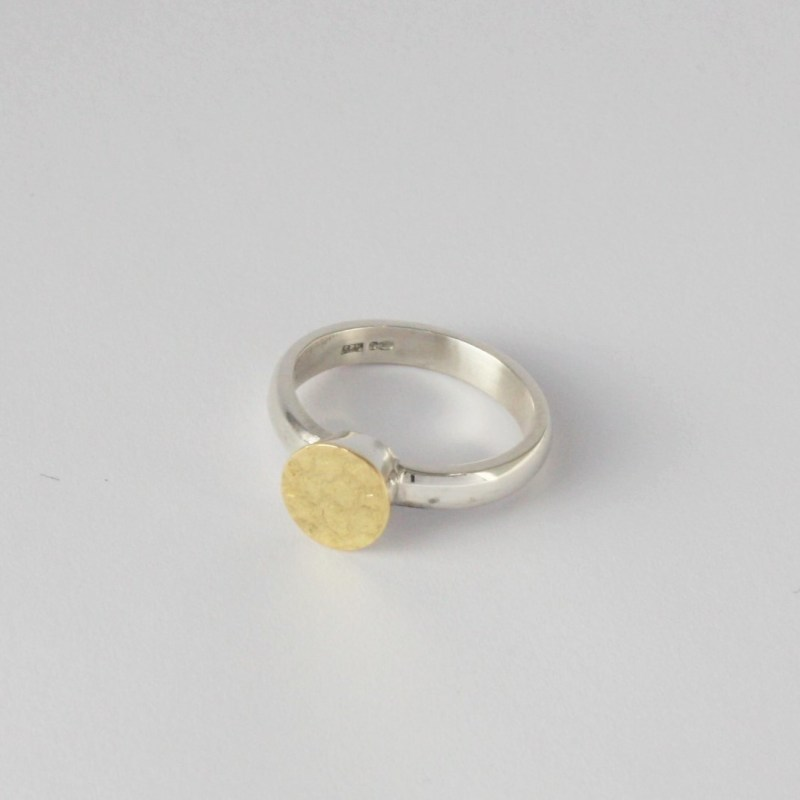 Silver and 18 carat gold ring