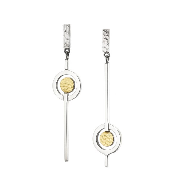 Contemporary mismatched drop earrings in sterling silver and 18 carat gold.