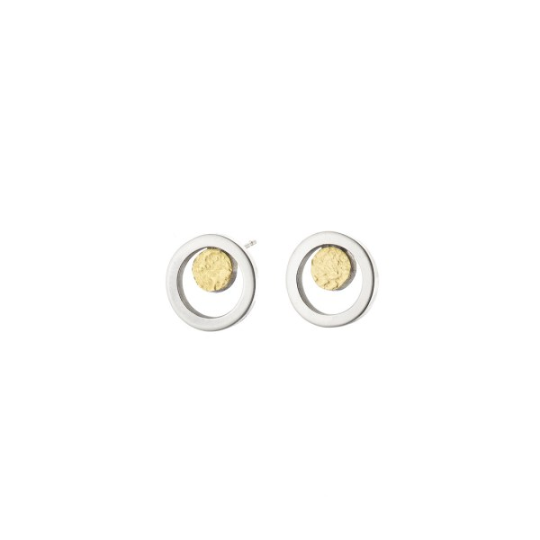 silver and 18 carat gold circle studs