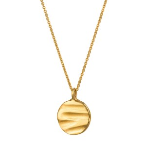 Textured gold disc necklace