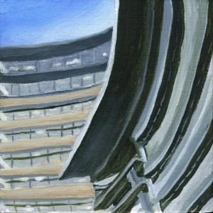 "Neutral Towers | by Sandra Mucha | Acrylic on Canvas | 5"" x 5"" /12.7cm x 12.7cm"