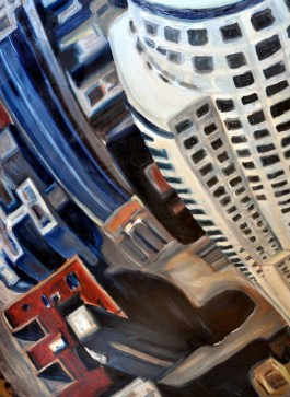 Red White and Blue Towers | by Sandra Mucha | Oil on Canvas | 48