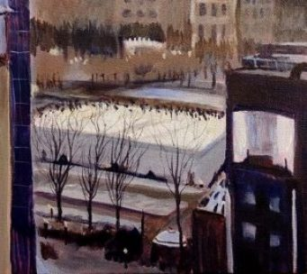 Park View in Winter part 4 by Sandra Mucha | Acrylic on Canvas | 18″ x 24″
