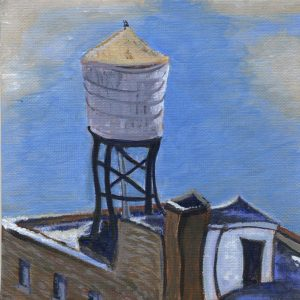 Water Tower in Winter by Sandra Mucha | Acrylic on Canvas | 6