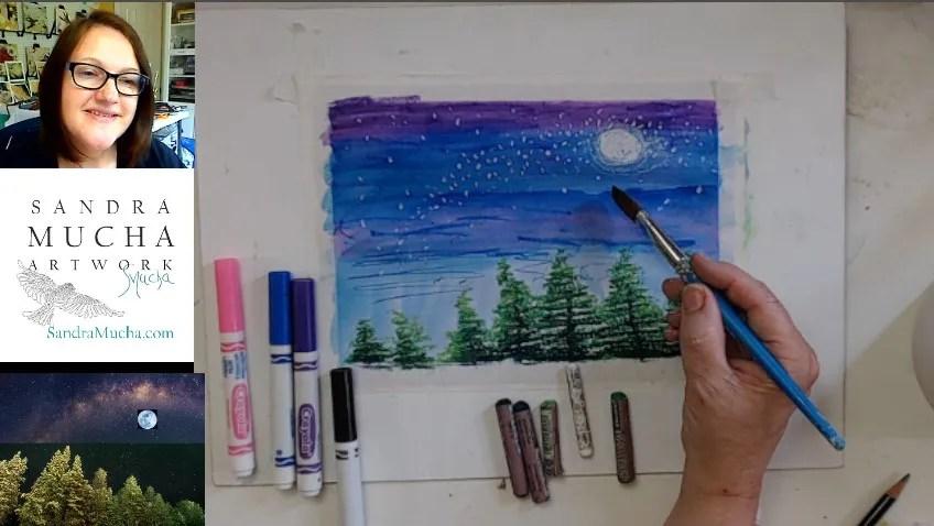 Virtual art after-school art lesson