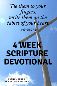 "Image of cross with the words ""4 week scripture devotional"" - resource link for devotional"