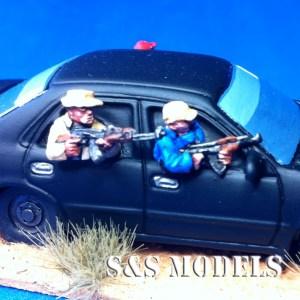 European armed car passengers