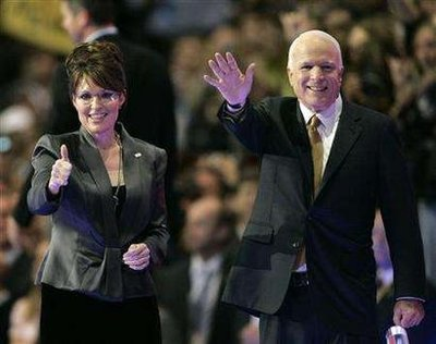 John McCain and Sarah Palin onstage after McCain's acceptance speech at the Republican National Convention in St. Paul, Minnesota on September 4. Reuters photo by Robert Galbraith