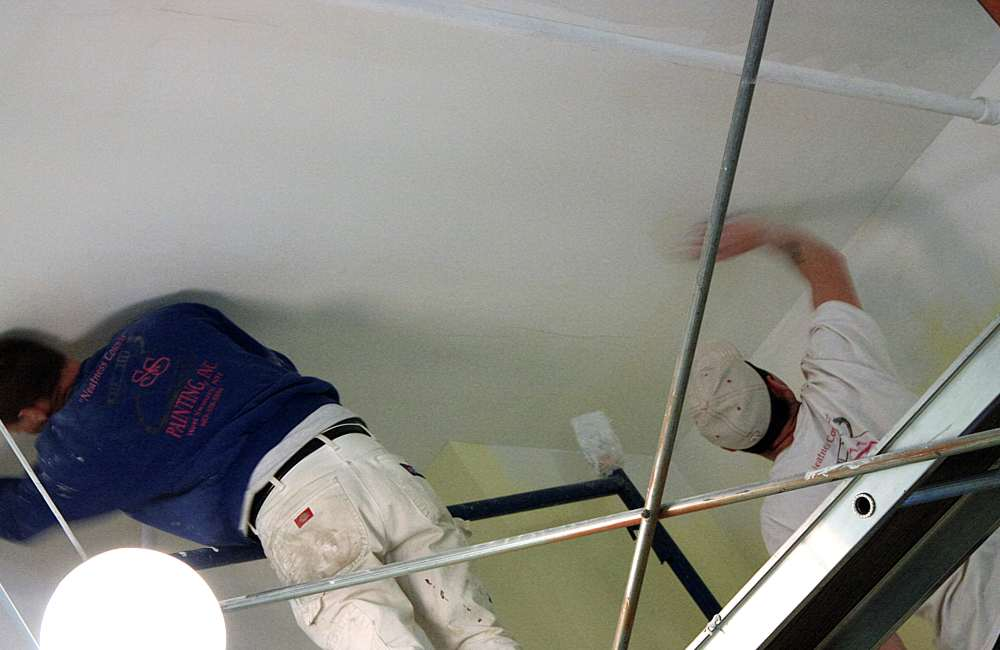 Overhead painting is always difficult