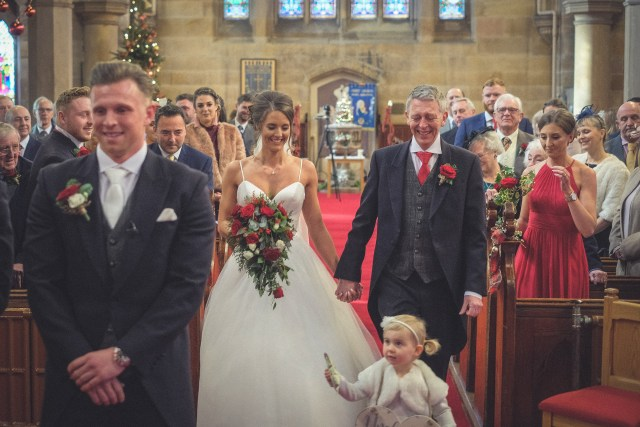 Beautiful bride walks down the aisle at Christchurch Bebington