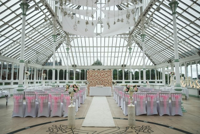 Inside the Isla Gladstone in Liverpool, set up for a wedding ceremony