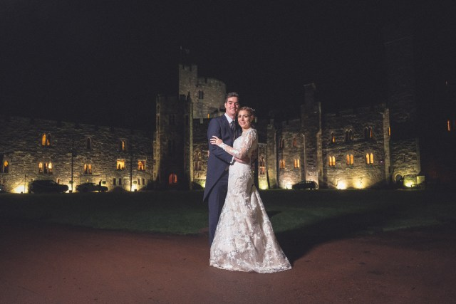 Peckforton Castle wedding photography in the evening