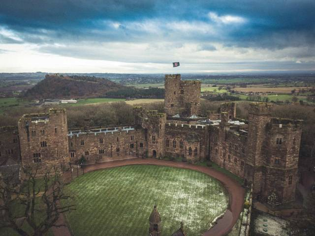 Wedding Photographer Wirral and Cheshire - drone image at Peckforton Castle