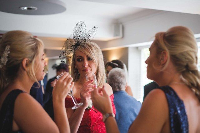 Wedding guests at the drinks reception in Liverpool