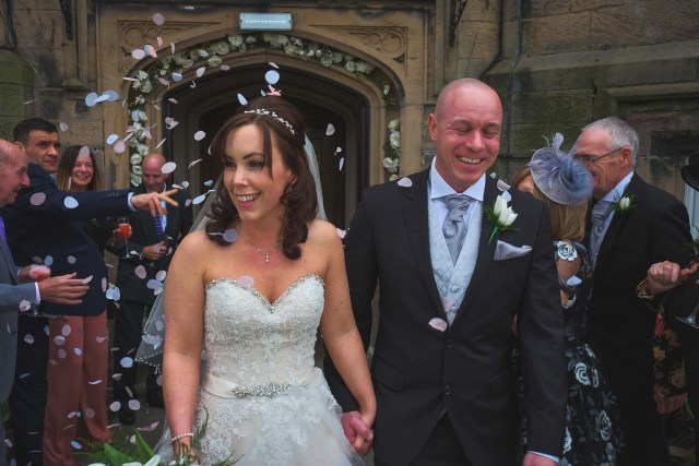Confetti at Wirral wedding