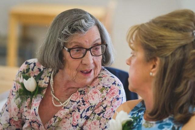 Wedding guest chatting at Leasowe Castle