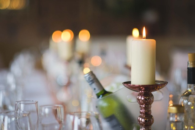 Candles on table at Wirral wedding