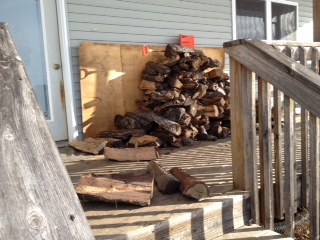 This is the pile on the deck right outside the door.