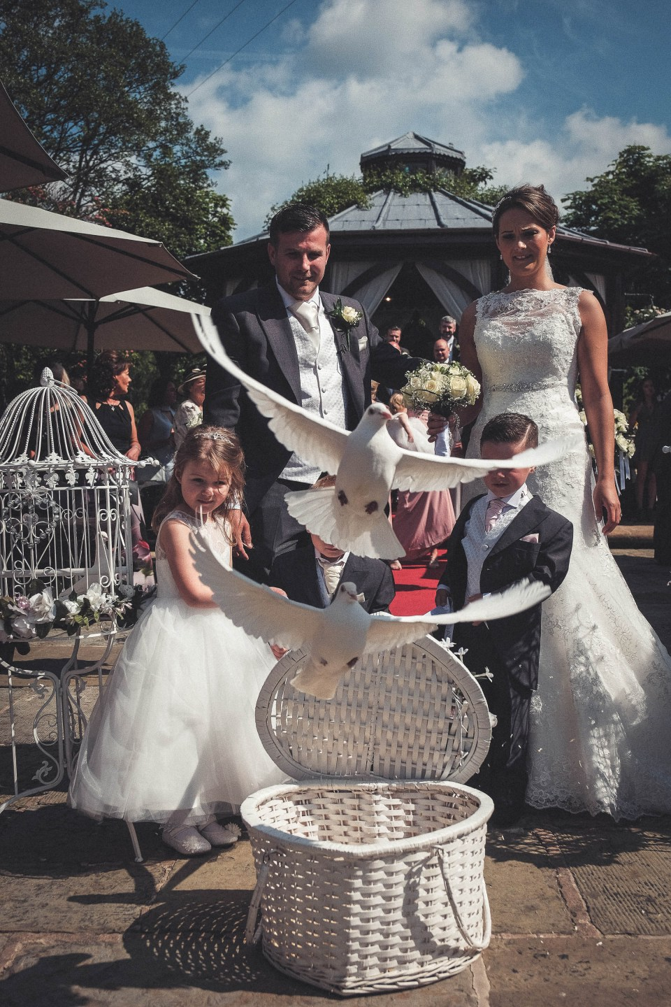 Dove release at Gibbon Bridge Wedding Venue