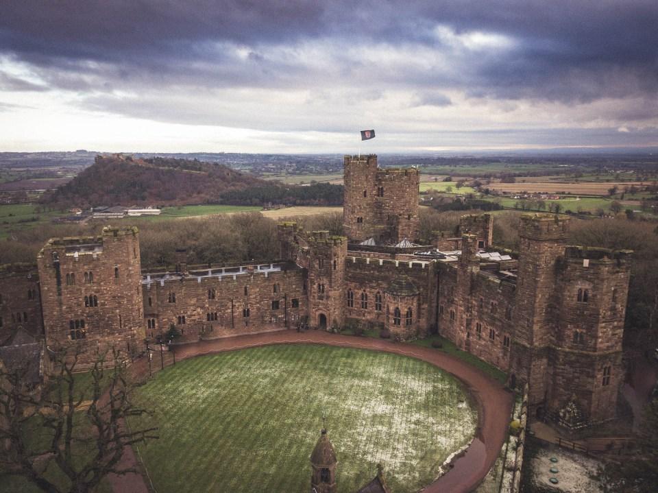 Wedding Videographer Cheshire -Drone Shot of Peckforton Castle Wedding Venue in Cheshire