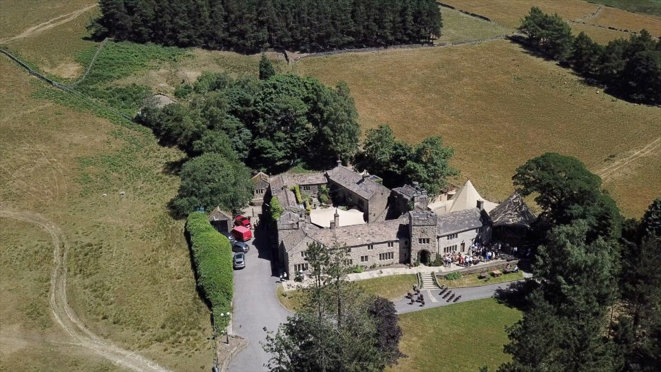 Aerial view of Upper House Hayfield wedding venue