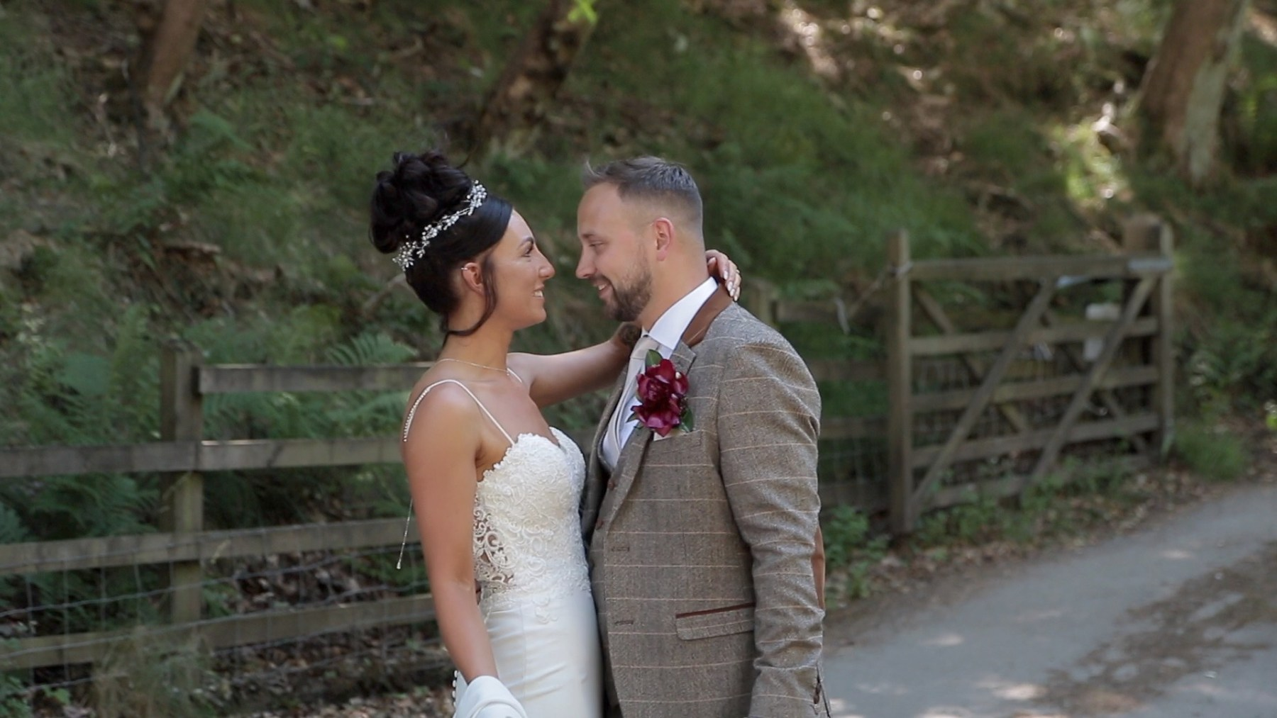 bride and groom at Upper House Hayfield wedding